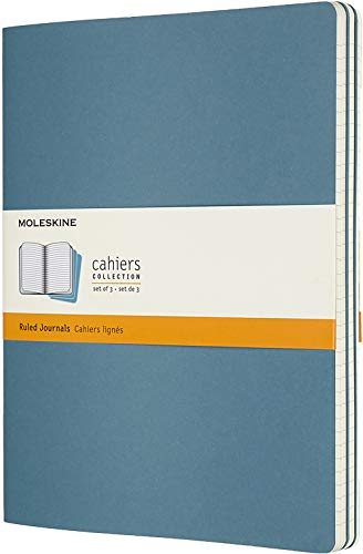Moleskine Cahier Journal (juego de 3 cuadernos con páginas forradas, cubierta de cartón y bordado de algodón, extra grande de 19 x 25 cm, 120 páginas) Azul (CAHIERS)