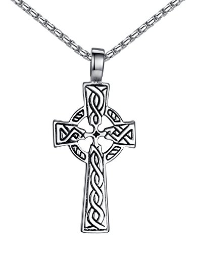 Aoiy Stainless Steel Celtic Cross Irish Knot Pendant Necklace, Unisex, 21' Link Chain, aap152