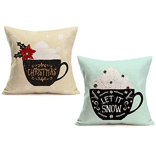 Doitely Set of 2 Christmas Let it Snow Quote Throw Pillow Cover French Dessert Coffee Cotton Linen Decorative Pillow Case Cushion Cover Coffee Shop Sofa Pillowcase 18''x18''