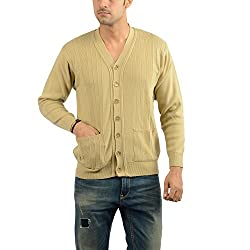 Den Hague Men Wool Blend Regular Fit Cardigan Beige