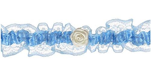 Strumpfband weiß-blau mit kleiner Rose Breite 2,4 cm für die Braut Hochzeit
