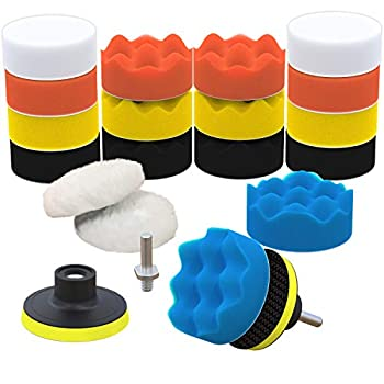 SCRUBIT Car Foam Drill Polishing Pad Kit 22 Pack Includes 16 Detailing Sponges  3 in  2 Wool Buffer Pads 2 Drill Adapters and Suction Cups for Your Vehicle - Waxing and Polisher Set