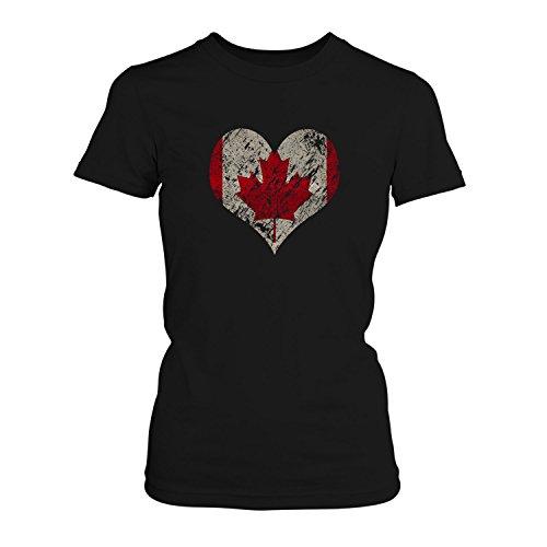 Fashionalarm Damen T-Shirt - I Love Canada | Fun Shirt Trikot mit Vintage Flagge Print für Fußball & Kanada Fans | Nordamerika Urlaub | WM, Farbe:schwarz;Größe:XXL
