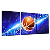 3 Panel Blue Lightning Basketball Camvas Wall Art Paintings for Boys Room Decals,Framed,12x16inchx3 (Blue Basketball)