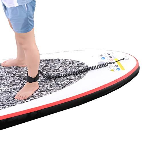 Acoser Surfboard Leash 10 Füße TPU Paddle Leash Mit FußSchlaufe Klettverschluss für Stand up Paddle Board Surfboard Schwarz