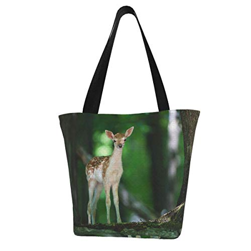 Bolsa de lona personalizable, con vistas de madera de ciervo, lavable, para el hombro, para la compra, para mujer