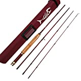"""Aventik Z Short & Light Ultra Light Fly Fishing Rods 6'1"""" LW0/1,6'6'' LW2, 6'8'' LW2/3, 7'6'' LW3/4, All in 4 Pieces Fast Action Super Compact Freshwater Fly Rods (7'6'' LW3/4)"""