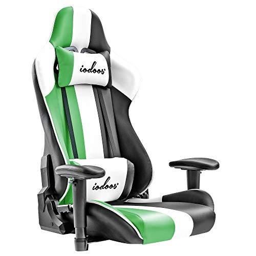 IODOOS ゲーミング座椅子 座椅子 ゲーミングチェア 180度リクライニング ハイバック 2021シリーズ可動肘 ヘッドレスト 肘掛け付き 165DAA