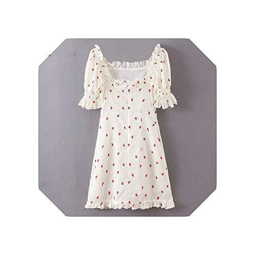 Blue Stor Womens Summer Dress| Floral Print Sweet Dress Women Square Neck Short Sleeve Dress Lady A-line Mini