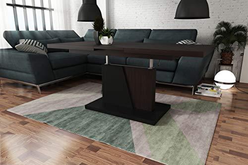 Design Couchtisch Tisch Grand Noir stufenlos höhenverstellbar ausziehbar 120 bis 180cm Esstisch (Walnuss-Wenge/Schwarz Matt)