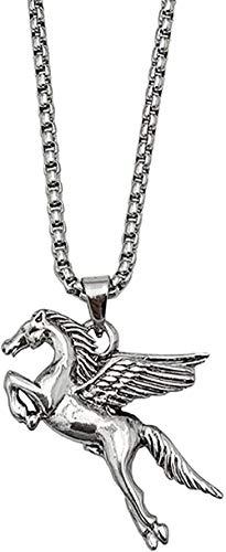 YOUZYHG co.,ltd Halskette Männer S Titan Stahl Edelstahl Halskette Pegasus Anhänger Schwermetall Anhänger Schlüsselbein Kette