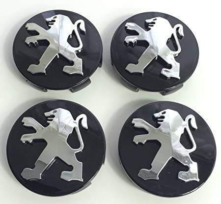 NADAENMJ 4 Piezas 60mm con el Logotipo Wheel tapacubos para Peugeot 106 107 206 207 306 307 506 507 108 208, Central Cubierta de buje Prueba De Polvo Automóvil Accesorios