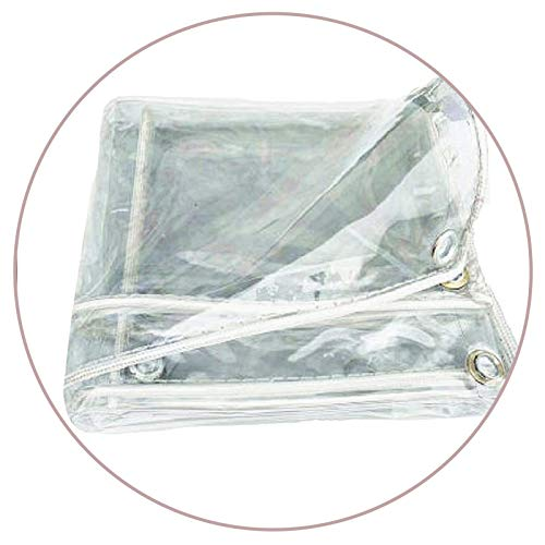 ALGFree Cortina Exterior Impermeable Tarea Pesada Vaso Al Aire Libre Claro Impermeable Toldo Vegetal, Plegable Lona Alquitranada para Mesa Resistente Al Viento Borde Reforzado