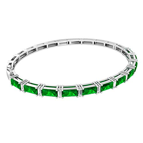 3.96 Ct SGL Certified Emerald Charm Bracelet, Unique Women Tennis Bracelet, 0.6 Ct Baguette Shape Diamond Bracelet, Baguette Shape Gemstone Bracelet, 18K White Gold