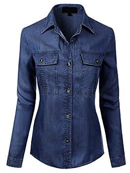 MixMatchy Women s Classic Long Sleeve Button Down Tencel Shirt with Pockets Dark Denim L