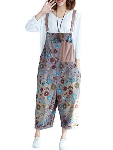 Mallimoda Damen Weite Bein Latzhose Jumpsuits Denim Overalls Printed Baggy Hosen Art 4-Lila