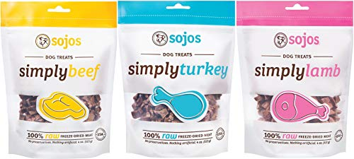 Sojos 100% Raw Freeze-Dried Meat Treats For Dogs 3 Flavor Variety Bundle: (1) Sojos Simply Beef 100% Raw Freeze-Dried Beef Treats, (1) Sojos Simply Lamb 100% Raw Freeze-Dried Lamb Treats, and (1) Sojos Simply Turkey 100% Raw Freeze-Dried Turkey Treats, 4 O