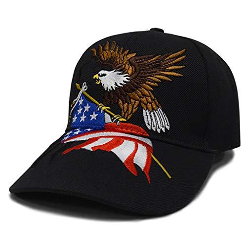 Lowral Baseball Cap, Unisex 3D bestickt Patriotische Adler Clutching American Flag Baseball Cap, Hip Hop Outdoor Verstellbare Strapback Buchstaben Dad Hat