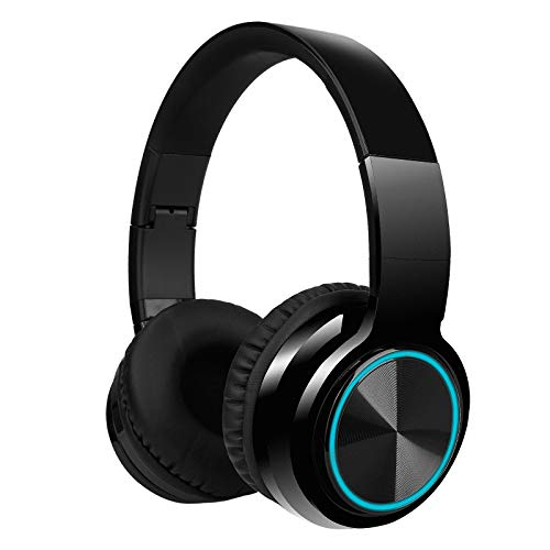 LUUSAMA Active Noise Cancelling Headphones Bluetooth Headphones with Microphone Deep Bass Wireless Headphones Over Ear, Comfortable Earpads, 30 Hours Playtime for Travel/Work, Black