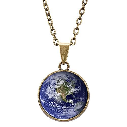 QDGERWGY Collar de Bola de Cristal de Doble Cara, Collar con Colgante de astronomía de Galaxia Vintage, joyería Luminosa cósmica de Planeta Universo