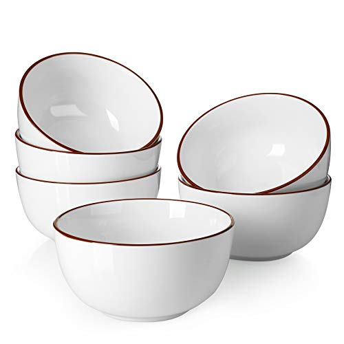 Sweese 127.001 Porcelain Bowls - 20 Ounce for Cereal, Soup, Rice, Salad - Set of 6, White