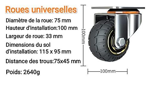 41bhUENxFqS. SL500  - Kit de 4 ruedas universales de 3 pulgadas sin frenos. Ruedas de carro silenciosas. Ruedas universales con ruedas giratorias de 75 mm. Ruedas industriales de transporte y ruedas para muebles.