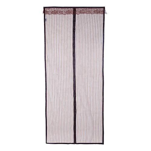 nologo Screen Door Magnetic, Fly Magnetic Screen Door Hochleistungs-Sommervorhang Anti-Moskito-Fliegen Insekt aus Frischluft in(Braun gestreift)