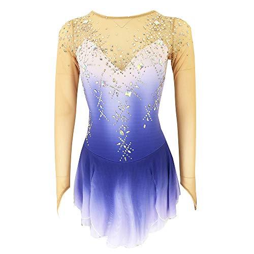 Kmgjc Vestido de Patinaje Artístico Mujer Maillot de Patinaje Manga Larga de Malla Transparente Leotardo con Falda Gimnasia Body de Danza Espalda Abierto Azul,Azul,S