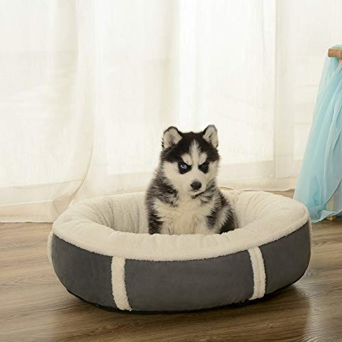 WANK Round Donut Cat and Dog Cushion Bed, Orthopedic Relief Pet Sofa Bed, Self-Warming Portable Dog Crate Bed with Raised Rim