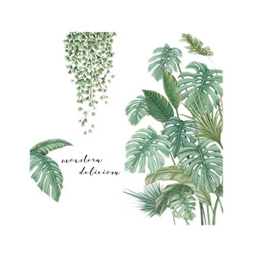 Huante Planta Verte - Adhesivo decorativo para pared, diseño de hojas de palmera tropical