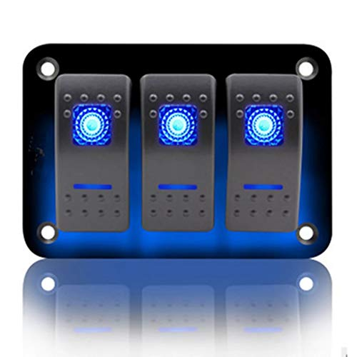 KAOLALI Panel de Interruptor Basculante 12V/24V Panel interruptores para Barco Coche 3 Interruptores Impermeable para Autocaravana Campera Furgoneta Barco