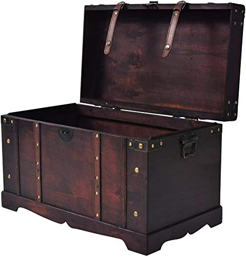 Antique-Style Treasure Trunk Storage Chest Wooden Organizer Box,Brown,Two Side Handles