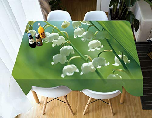 ALUONI Indoor/Outdoor Print Polyester Fabric Tablecloth - Lily of The Valley Hotel Quality Water, Stain Resistant, 84 Inch x 60 Inch Rectangle SW00787