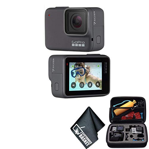 GoPro Hero 7 Silver -Waterproof Digital Action Camera with Touch Screen 4K HD Video 10MP Photos CHDHC-601 - Bundle