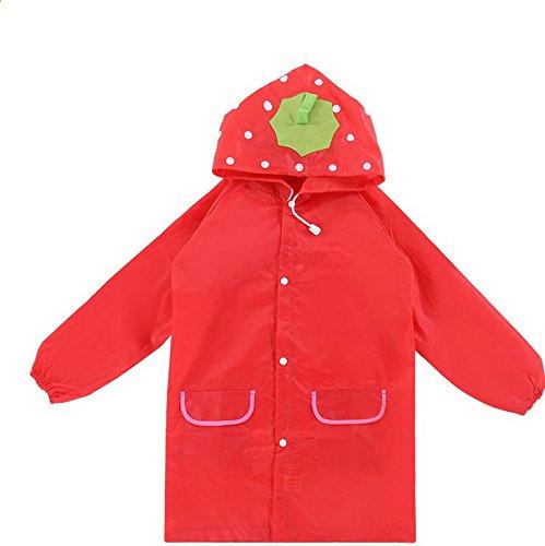 Cicilin Capa de chuva infantil unissex com estampa de animal e estampa de desenho animado à prova d'água, Vermelho, tamanho �nico