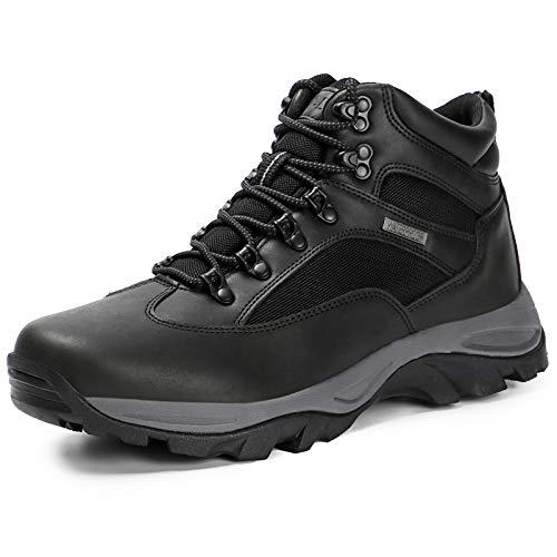 CC-Los Men's Hiking Boots Waterproof Mid Top Boot Shock-Absorbing EVA Casual Outdoor Lightweight Black
