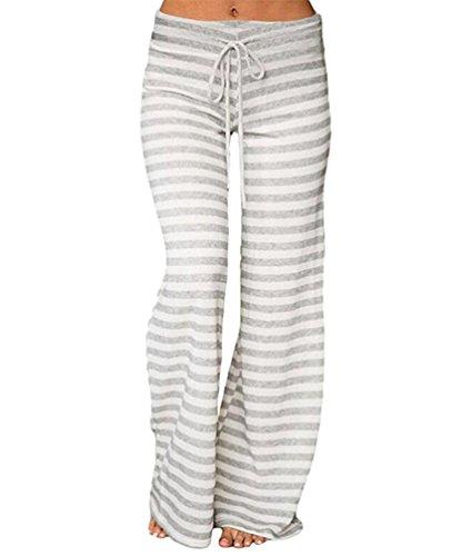 YuanDian Mujer Casual Cordón Impresión Rayas Pantalones Anchos Cintura Baja Pata Ancha Pantalones Palazos Campana Amplios Fluidos Elefante Yoga Pantalones Gris S