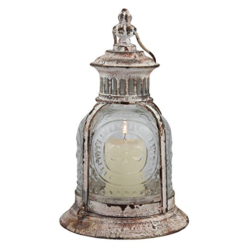 "Stonebriar Antique Metal Votive Candle Lantern with Handle, 10"", Worn White"