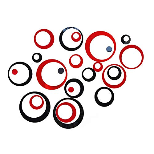 24Pcs Acrylic Circle Mirror Wall Stickers DIY Decals Modern Art Mural for Home Living Room Bedroom Decor Black and Red