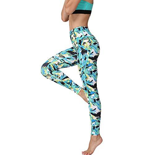 HAPYWER Yoga Leggings Damen High Waist Gym Sport Leggings Tummy Control Yoga Hosen Running Workout Kompressionsstrumpfhose Stretch Trainingshose mit Aufdruck-Phönix Schwanz Grün-S