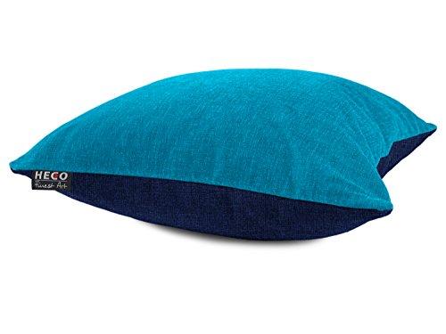 2-farbige Kissenhülle der Serie Colin von Heco - Markenqualität - erhältlich in 13 Farbkombinationen - Maße ca. 40 x 60 cm & 50 x 50 cm - blickdichter Samt, 40 x 60 cm, Aqua/dunkelblau