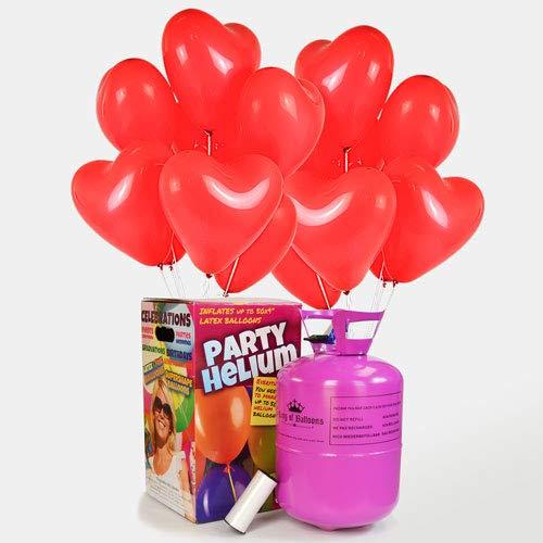 We Are Party Pack Romántico: bombona de Helio Maxi + 50 Globos de látex de Corazón Rojos 28cm Made in Spain