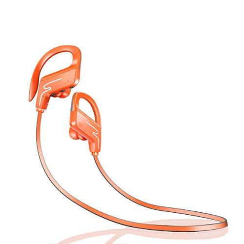 YaQi Bluetooth draadloze headset waterdicht IPX7, de beste sport hoofdtelefoon met een microfoon, HiFi stereo oordopjes, 8 uur spelen lawaai annuleren hoofdtelefoon. ORANJE