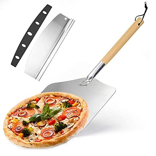 WHONOS Pala per Pizza, Professionale Spatola Pizza forata in Alluminio 63,5 x 30,5 cm per Forno Pizza e Barbecue per Cuocere Pizze Pane Crostate Fatta in Casa, Taglierina per Pizza, Grande Superficie