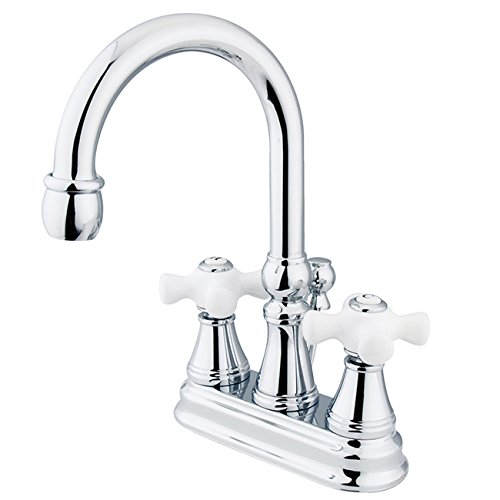 Kingston Brass KS2611PX Governor 4-Inch Centerset Lavatory Faucet with Brass Pop-Up and Porcelain Cross Handle, Polished Chrome