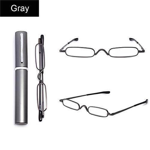 WILK Mini Draagbare Pen Houder Leesbril | RVS Frame | Compacte Leesbril | +1.0,+1.5,+2.0,+2.5,+3.0 | Goud, Grijs, Paars, Rood