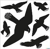 HERMA 5999 Warnvögel Vögel Aufkleber Set für Fensterscheiben, groß (30 x 30 cm, 6 Aufkleber, Folie) selbstklebend, ablösbar und wiederverwendbar, aus wetterfester langlebiger Hartfolie, schwarz