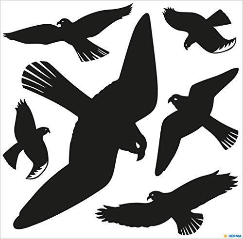 HERMA 5999 Waarschuwingsvogels, stickerset voor ruiten, groot (30 x 30 cm, 6 stickers, folie) zelfklevend, verwijderbaar en herbruikbaar, van weerbestendig duurzaam hardfolie, zwart