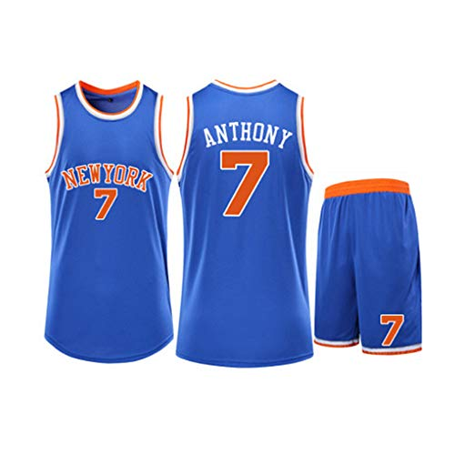 XSJY Unisex Pullover di Pallacanestro Set-NBA New York Knicks # 7 Carmelo Anthony Fan Classic Pallacanestro Swingman Jersey Maniche Top & Shorts,Blu,2XL:170~175CM