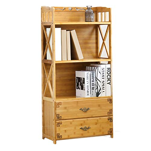 DULPLAY bamboe natuurlijke dikker boekenplank met lade hoge boekenkast open plank opslag organisator staande voor thuis of op kantoor